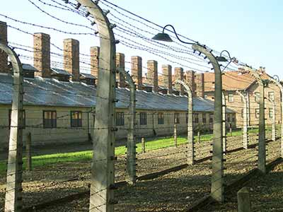 Barbered wire nearby the entrance of Auschwitz