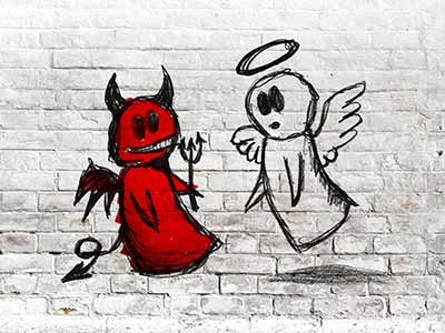 Angel and devil fighting as wall art