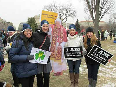 University of Notre Dame students at March for Life, Washington, D.C. January 2013