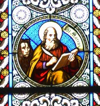 Saint Mark on stained glass windows in Collegiumskapelle Mehrerau 1886