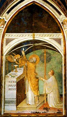 The Miraculous Mass - Fresco by Simone Martini in the Lower Basilica in Assisi