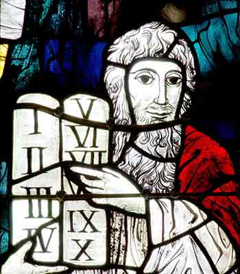Stained glass of Noah and Ten Commandments